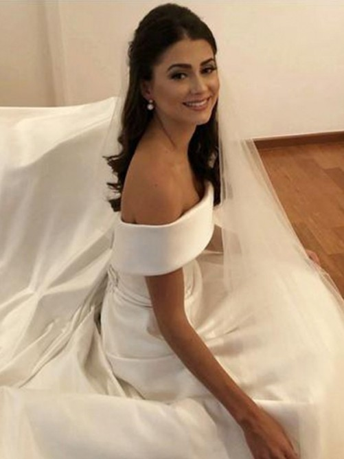A-Line Off-the-Shoulder Sweep/Brush Train Satin Wedding Dress