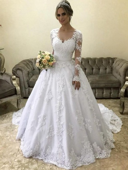 Ball Gown V-neck Long Sleeves Court Train Satin Wedding Dress