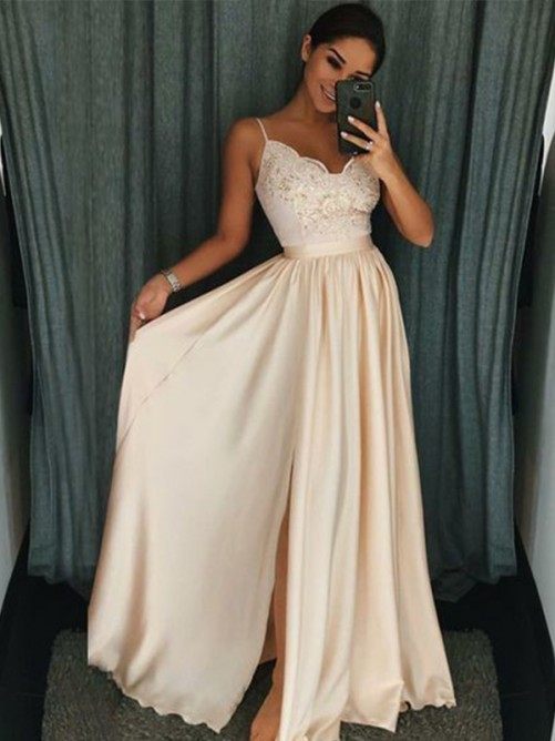 A-Line Spaghetti Straps Floor-Length Silk like Satin Dress