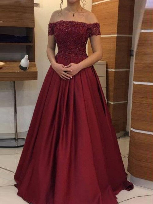 Ball Gown Off-the-Shoulder Floor-Length Satin Dress