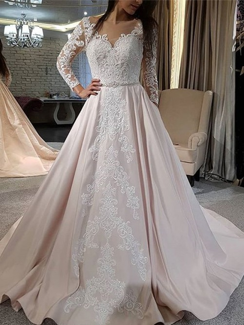 A-Line Satin V-neck Long Sleeves Long Wedding Dress