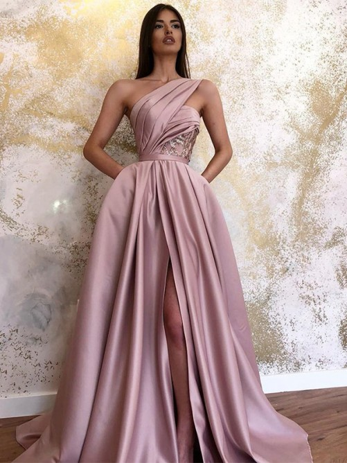 A-Line Satin One-Shoulder Sweep/Brush Train Dress