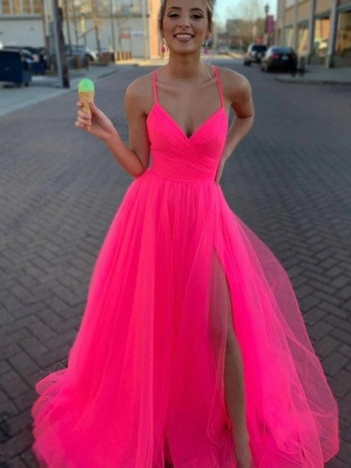 A-Line/Princess V-neck Sweep/Brush Train Tulle Dress