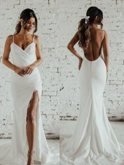 Sheath/Column Spaghetti Straps Sweep/Brush Train Lace Wedding Dress
