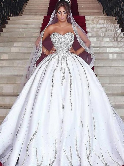 Ball Gown Sweetheart Sweep/Brush Train Satin Wedding Dress