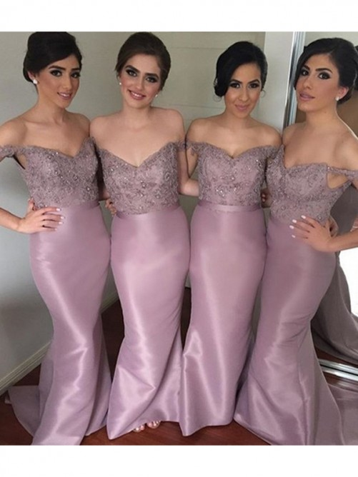 Mermaid Off-the-Shoulder Long Beading Satin Bridesmaid Dress