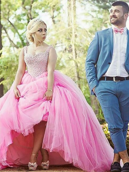 Ball Gown Sweetheart Tulle Long Pearls Plus Size Dress