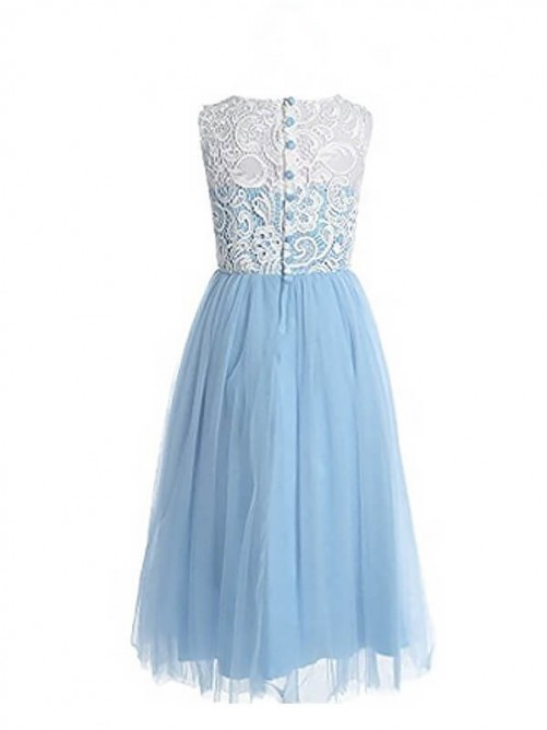 A-Line/Princess Jewel Lace Ankle-length Tulle Flower Girl Dress