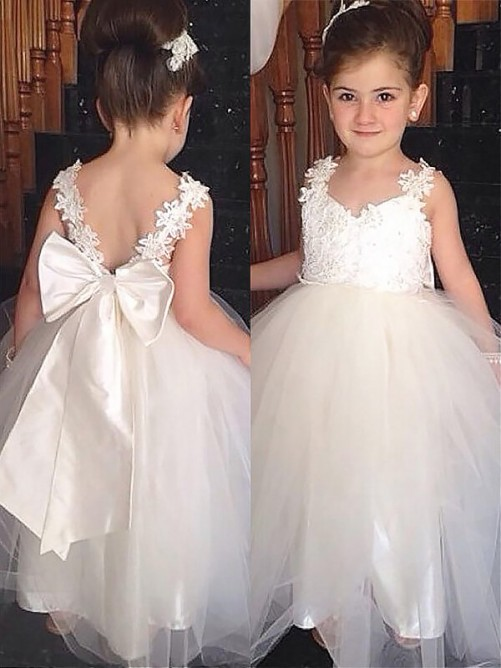 08730f5b6 Ball Gown Sweetheart Floor-Length Tulle Flower Girl Dress