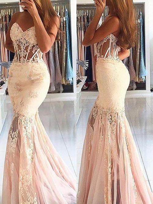 Trumpet/Mermaid Sweetheart Tulle Lace Sweep/Brush Train Dress