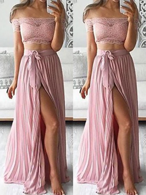 A-Line/Princess Off-the-Shoulder Chiffon Floor-Length Lace Two Piece Dress