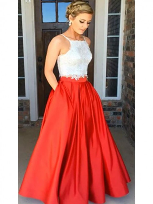 A-Line/Princess Spaghetti Straps Satin Floor-Length Lace Two Piece Dress