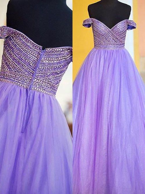 Ball Gown Off-the-Shoulder Floor-Length Tulle Dress