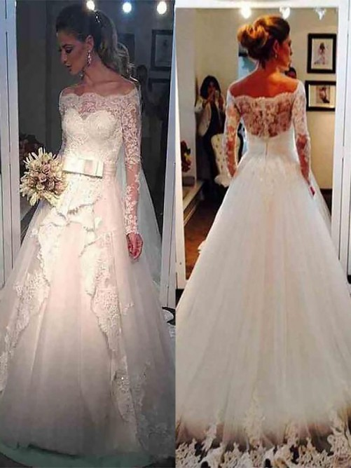 Ball Gown Tulle Off-the-Shoulder Sweep/Brush Train Wedding Dress