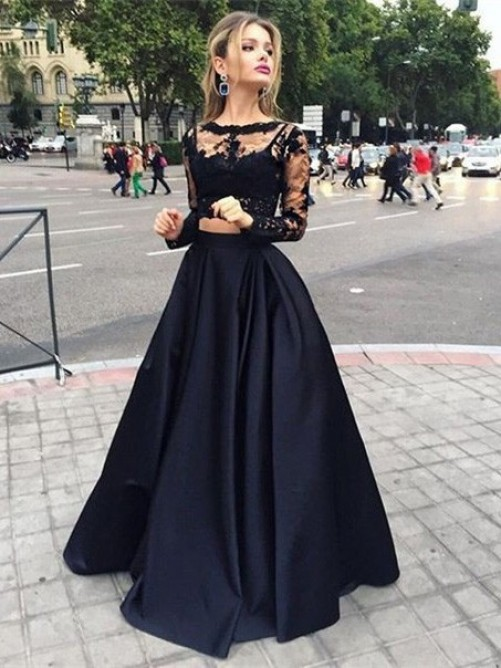 Ball Gown Long Sleeves Bateau Satin Long Dress