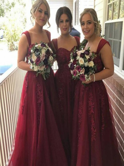 A-Line Straps Applique Long Tulle Bridesmaid Dress