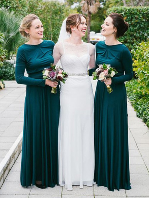 A-Line Scoop Long Jersey Bridesmaid Dress