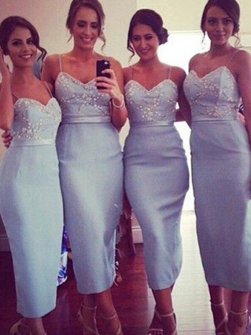 Sheath Spaghetti Straps Satin Knee-Length Bridesmaid Dress