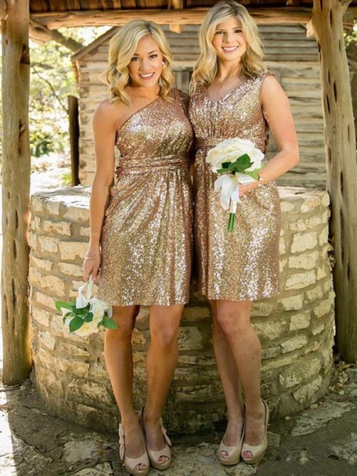 Sheath Sequins Short Bridesmaid Dress