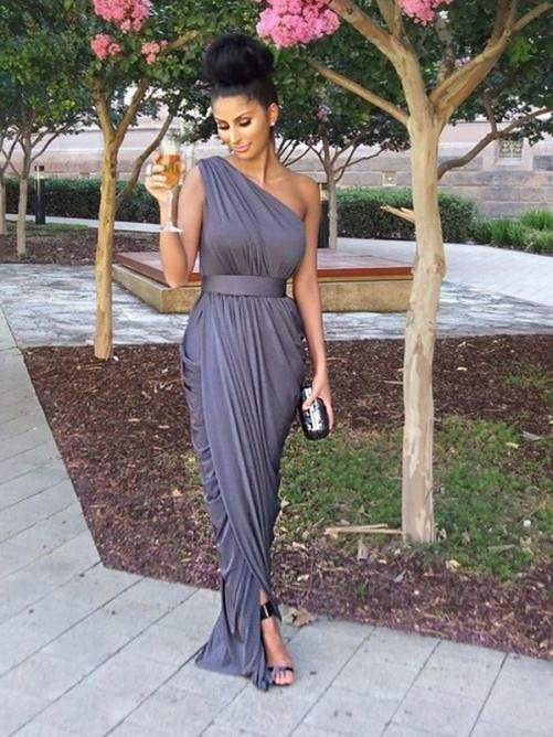 Sheath One-Shoulder Long Jersey Bridesmaid Dress