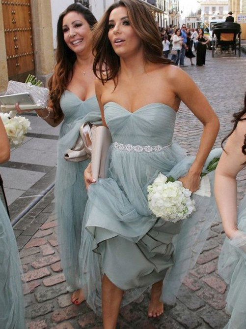 A-Line Sweetheart Long Beading Tulle Bridesmaid Dress