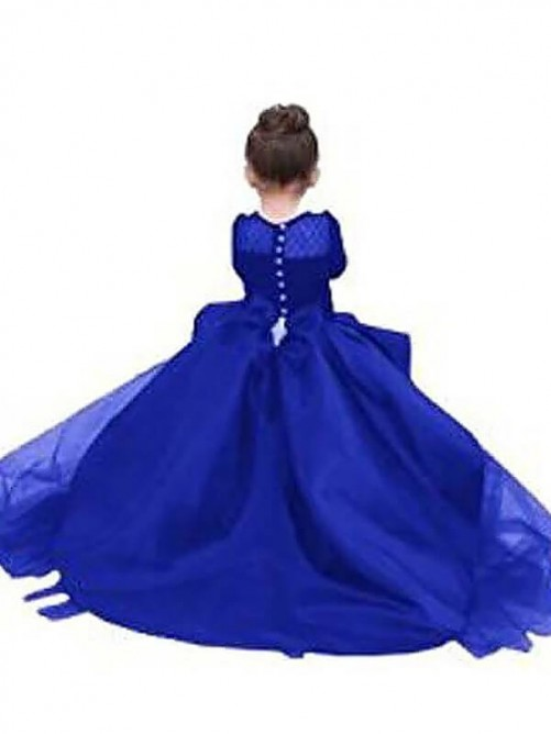Ball Gown Scoop Sweep/Brush Train Satin Flower Girl Dress