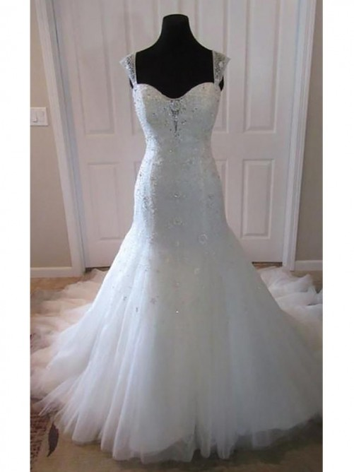 Trumpet/Mermaid Tulle Court Train Straps Wedding Dress