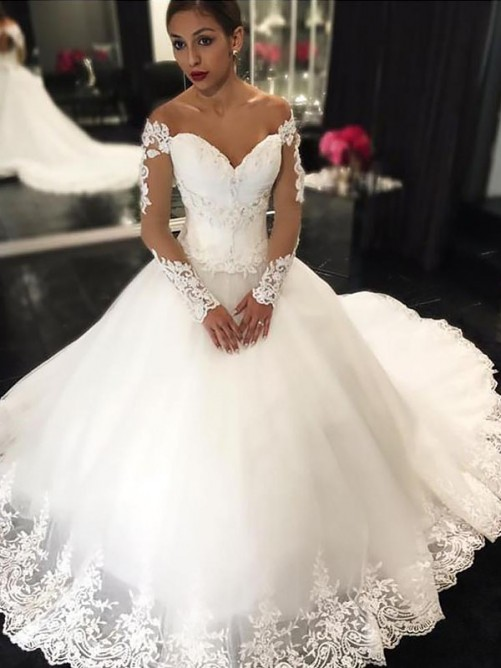accf92a4a2 Ball Gown Tulle Off-the-Shoulder Court Train Wedding Dress
