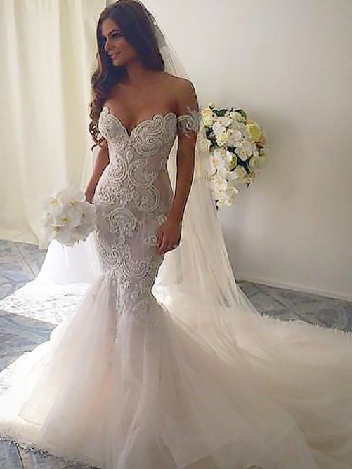 Trumpet/Mermaid Chapel Train Off-the-Shoulder Tulle Wedding Dress