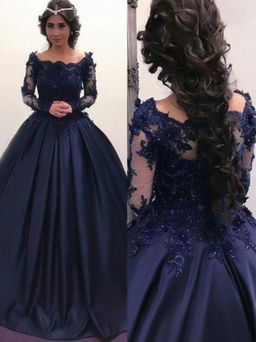 Ball Gown Bateau Long Sleeves Sweep/Brush Train Satin Dress