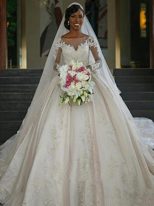 Ball Gown Bateau Long Sleeves Sweep/Brush Train Satin Wedding Dress