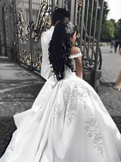 Ball Gown Off-the-Shoulder Sweep/Brush Train Satin Wedding Dress