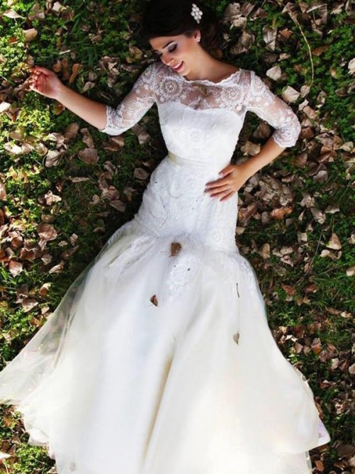 Mermaid Bateau Floor-Length Lace Tulle Wedding Dress