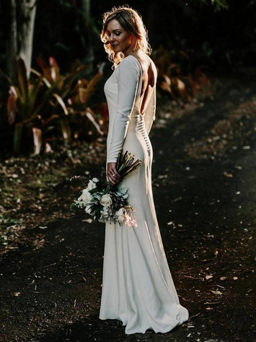 Sheath Jewel Long Sleeves Floor-Length Elastic Woven Satin Wedding Dress