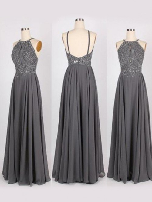 A-Line Halter Sweep/Brush Train Beading Chiffon Dress