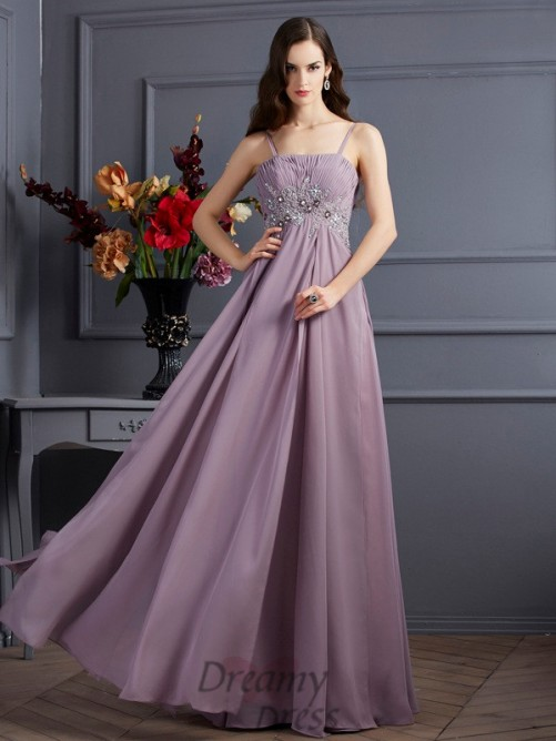 Empire Spaghetti Straps Floor-Length Chiffon Dress