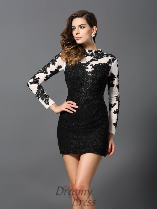 High Neck Long Sleeves Lace Short/Mini Dress