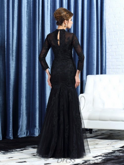 High Neck Long Sleeves Tulle Floor-Length Mother of the Bride Dress