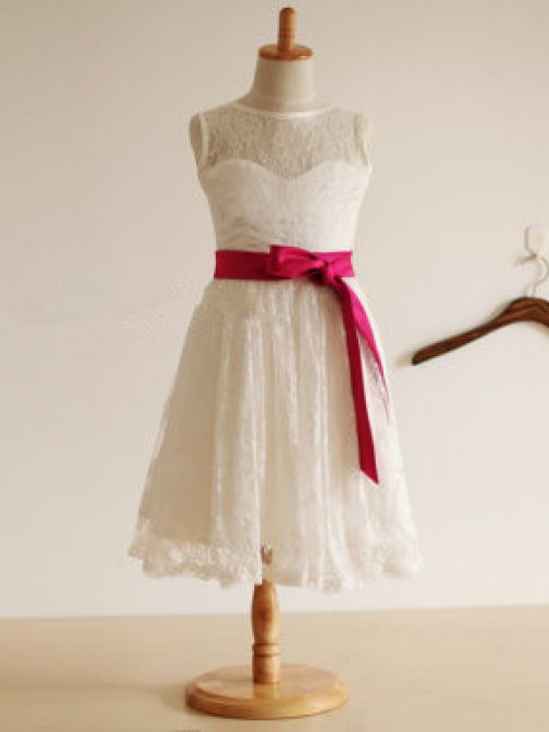 Jewel A-line/Princess Tea-length Lace Flower Girl Dresses with Sash/Ribbon/Belt