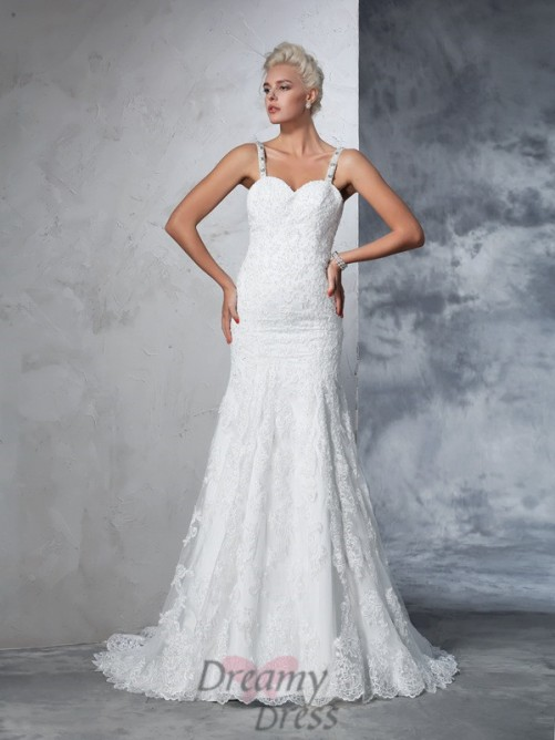 Mermaid Spaghetti Straps Lace Chapel Train Wedding Dress