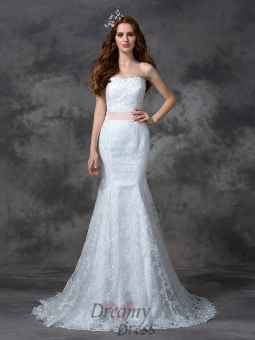 Mermaid Strapless Sash/Ribbon/Belt Court Train Lace Wedding Dress