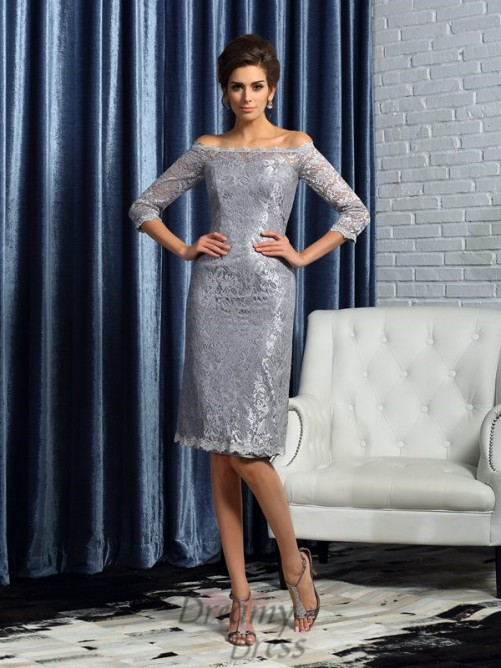 Off-the-Shoulder Satin 1/2 Sleeves Knee-Length Lace Mother of the Bride Dress