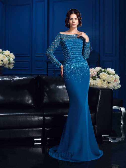 Off-the-Shoulder Sweep/Brush Train Chiffon Mother Of The Bride Dress