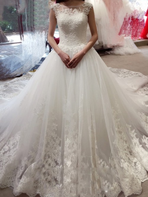 Ball Gown Sleeveless Bateau Court Train Tulle Wedding Dress