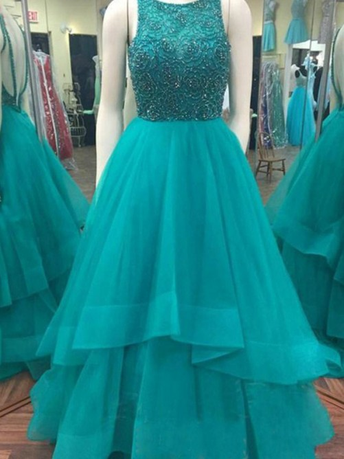 Ball Gown Scoop Sleeveless Floor-Length Organza Dresses