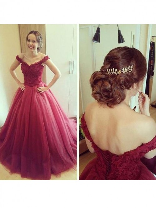 Ball Gown Off-the-Shoulder Sleeveless Court Train Tulle Dresses
