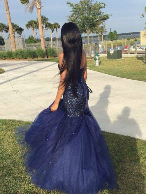 Trumpet/Mermaid Sweetheart Sleeveless Tulle Floor-Length Dresses