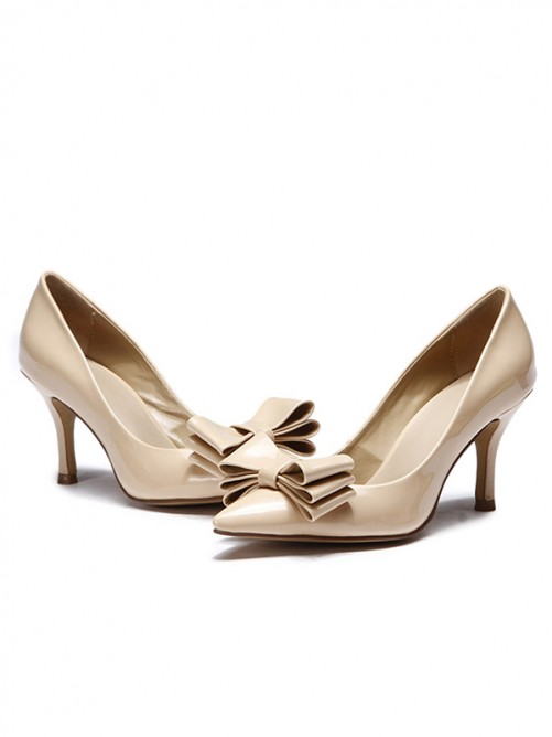 Women's Patent Leather Pointed Toe with Bowknot Stiletto Heel Shoes