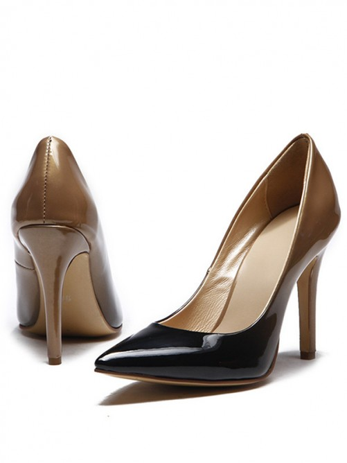 Women's Patent Leather Pointed Toe Stiletto Heel Shoes