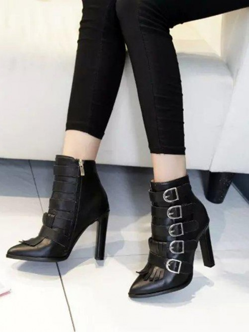 Women's Sheepskin Pointed Toe Chunky Heel Ankle Boots